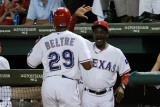 Detroit Tigers v Texas Rangers - G. Six, Arlington, TX - Oct. 15: Adrian Beltre and Ron Washington Photographic Print by Harry How
