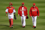 Rangers v Cardinals, St Louis, MO - Oct. 27: Yadier Molina, Jaime Garcia and Dave Duncan Photographic Print by Doug Pensinger