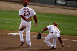 Texas Rangers v St Louis Cardinals, St Louis, MO - Oct. 27: David Freese and Rafael Furcal Photographic Print by  Rob Carr