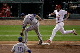 Rangers v Cardinals, St Louis, MO - Oct. 27: Lance Berkman, Colby Lewis and Michael Young Photographic Print by Rob Carr 