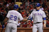 Texas Rangers v St Louis Cardinals, St Louis, MO - Oct. 27: Josh Hamilton and Adrian Beltre Photographic Print by Ezra Shaw