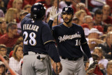 Brewers v St. Louis Cardinals - G. Four, St Louis, MO - Oct. 13: Prince Fielder and George Kottaras Photographic Print by Jamie Squire