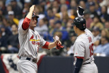 St Louis Cardinals v Milwaukee Brewers - G. Six, Milwaukee, WI - Oct. 16: David Freese and Jon Jay Photographic Print by Christian Petersen