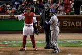 Texas Rangers v St Louis Cardinals, St Louis, MO - Oct. 27: Yadier Molina and Mike Napoli Photographic Print by Rob Carr
