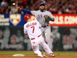Texas Rangers v St Louis Cardinals, St Louis, MO - Oct. 27: Elvis Andrus and Matt Holliday Photographic Print by Jamie Squire