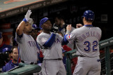 Rangers v Cardinals, St Louis, MO - Oct. 27: Josh Hamilton, Esteban German and Yorvit Torrealba Photographic Print by Doug Pensinger