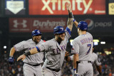 Rangers v Detroit Tigers - Detroit, MI - Oct. 12: Mike Napoli, Nelson Cruz and David Murphy Photographic Print by Harry How
