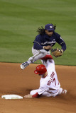Milwaukee Brewers v Cardinals - G. Five, St Louis, MO - Oct. 14: Rickie Weeks and David Freese Photographie par Christian Petersen