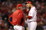 Game 7 - Rangers v Cardinals, St Louis, MO - October 28: Chris Carpenter and Dave Duncan Photographic Print by Jamie Squire