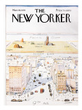 The New Yorker Cover, View of the World from 9th Avenue - March 29, 1976 Premium Giclee Print by Saul Steinberg