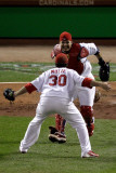 Game 7 - Rangers v Cardinals, St Louis, MO - October 28: Jason Motte and Yadier Molina Photographic Print by Rob Carr