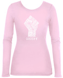 Women's Long Sleeve: Occupy Wall Street Fight The Power Fist T-paita