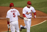 Game 7 - Rangers v Cardinals, St Louis, MO - October 28: Allen Craig and Albert Pujols Photographic Print by Doug Pensinger