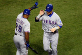 Game 7 - Rangers v Cardinals, St Louis, MO - October 28: Josh Hamilton and Adrian Beltre Photographic Print by Dilip Vishwanat