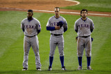 Game 7 - Rangers v Cardinals, St Louis, MO - October 28: Elvis Andrus, David Murphy and Ian Kinsler Photographic Print by Rob Carr 