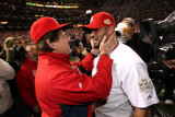 Game 7 - Rangers v Cardinals, St Louis, MO - October 28: Albert Pujols and Tony La Russa Photographic Print by Jamie Squire