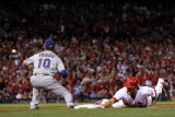 Game 7 - Rangers v Cardinals, St Louis, MO - October 28: Lance Berkman and Michael Young Photographic Print by Jamie Squire