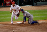 Game 7 - Rangers v Cardinals, St Louis, MO - October 28: Ian Kinsler and Albert Pujols Photographic Print by  Rob Carr