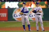 Game 7 - Rangers v Cardinals, St Louis, MO - October 28: Ian Kinsler and Michael Young Photographic Print by Ezra Shaw