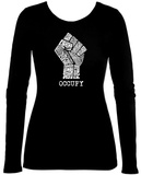 Women's Long Sleeve: Occupy Wall Street Fight The Power Fist Tshirts