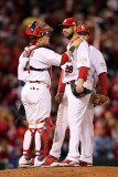 Game 7 - Rangers v Cardinals, St Louis, MO - October 28: Chris Carpenter and Yadier Molina Photographic Print by Jamie Squire