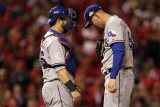 Game 7 - Rangers v Cardinals, St Louis, MO - October 28: Mike Napoli and Matt Harrison Photographic Print by Jamie Squire