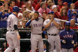 Rangers v Cardinals - Oct. 28: Josh Hamilton, Elvis Andrus, Yorvit Torrealba and Ron Washington Photographic Print by Jamie Squire