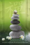 Galets zen avec fleurs Poster