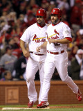 Game 7 - Rangers v Cardinals, St Louis, MO - October 28: Lance Berkman and Albert Pujols Photographic Print by Jamie Squire