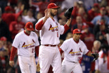 Rangers v Cardinals, St Louis, MO - Oct. 28: Chris Carpenter, David Freese and Rafael Furcal Photographic Print by Jamie Squire