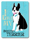I Love My Boton Terrier Wood Sign