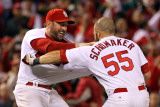 Game 7 - Rangers v Cardinals, St Louis, MO - October 28: Nick Punto and Skip Schumaker Photographic Print by Jamie Squire