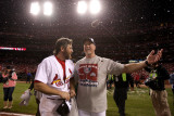 Game 7 - Rangers v Cardinals, St Louis, MO - October 28: Lance Berkman and Mark McGuire Photographic Print by Ezra Shaw