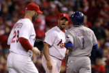 Rangers v Cardinals, St Louis, MO - Oct. 28: Albert Pujols, Elvis Andrus and Chris Carpenter Photographic Print by Ezra Shaw