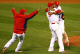 Game 7 - Rangers v Cardinals, St Louis, MO - October 28: Rafael Furcal and Albert Pujols Photographic Print by Dilip Vishwanat