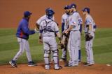Game 7 - Rangers v Cardinals, St Louis, MO - October 28: Scott Feldman and Ron Washington Photographic Print by Doug Pensinger