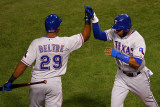 Game 7 - Rangers v Cardinals, St Louis, MO - October 28: Adrian Beltre and Elvis Andrus Photographic Print by Dilip Vishwanat