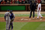 Game 7 - Rangers v Cardinals, St Louis, MO - Oct. 28: Mike Napoli, Matt Harrison and David Freese Photographic Print by Rob Carr 