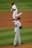 Game 7 - Rangers v Cardinals, St Louis, MO - October 28: Allen Craig and Matt Harrison Photographic Print by Doug Pensinger