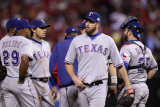 Game 7 - Rangers v Cardinals, St Louis, MO - October 28: Scott Feldman and Ron Washington Photographic Print by Ezra Shaw