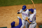 Rangers v Cardinals, St Louis, MO - Oct. 28: Josh Hamilton, Ron Washington and Yorvit Torrealba Photographic Print by Dilip Vishwanat