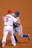 Game 7 - Rangers v Cardinals, St Louis, MO - October 28: Albert Pujols and Ian Kinsler Photographic Print by Doug Pensinger