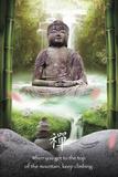 Bouddha avec bambou, texte en anglais Posters