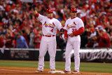 Game 7 - Rangers v Cardinals, St Louis, MO - October 28: Yadier Molina and Dave McKay Photographic Print by Ezra Shaw