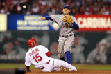 Game 7 - Rangers v Cardinals, St Louis, MO - October 28: Ian Kinsler and Rafael Furcal Photographic Print by Jamie Squire