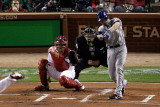 2011 World Series Game 7 - Rangers v Cardinals, St Louis, MO - October 28: Michael Young Photographic Print by Rob Carr