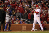 Game 7 - Rangers v Cardinals, St Louis, MO - October 28: David Freese and Mike Napoli Photographic Print by Jamie Squire