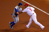Game 7 - Rangers v Cardinals, St Louis, MO - October 28: Albert Pujols and Ian Kinsler Photographic Print by Dilip Vishwanat