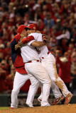 Game 7 - Rangers v Cardinals, St Louis, MO - October 28: Rafael Furcal and Albert Pujols Photographic Print by Jamie Squire