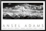 Mt. McKinley-fjellkjeden, skyer, Denali nasjonalpark, Alaska|Mt. Mckinley Range, Clouds, Denali National Park, Alaska Posters av Ansel Adams